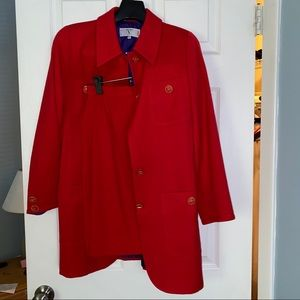 Vintage Valentino Miss V Red Wool Skirt Suit Lined